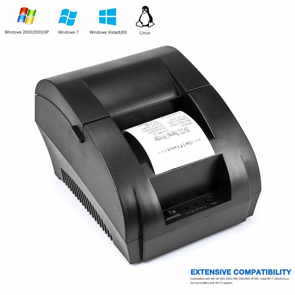 USB Thermal Receipt Printer 58mm TEROW Mini Portable Label Printer with  High Speed Printing, Low Noise Compatible with ESC/POS Print Commands