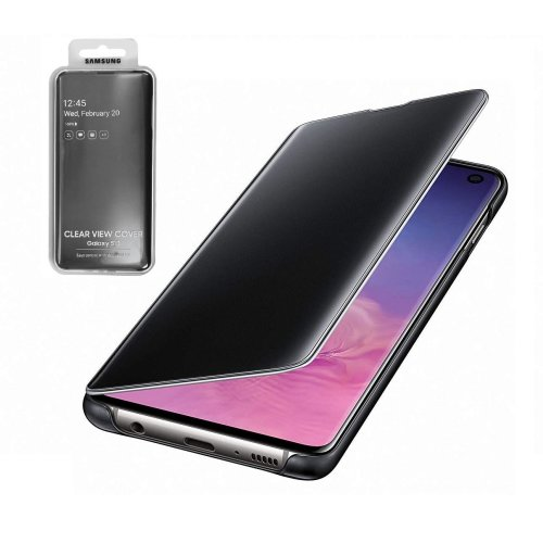 Official Genuine Original Samsung Clear View Standing Case Cover for Samsung Galaxy S10 - Black