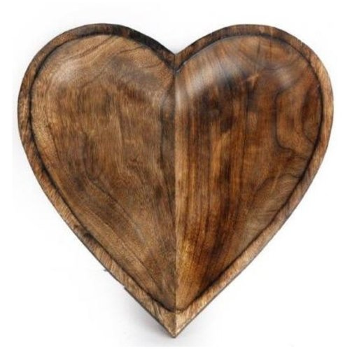 Wooden Heart Bowl Solid Carved Mango Wood Fruit Pot Pourri Dish 30cm