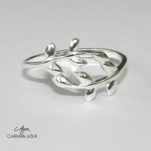 925 Sterling Silver Midi Ring, Olive Branch Design