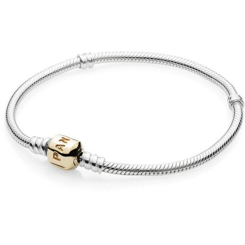 Pandora Sterling Silver Bracelet With 14K Gold Clasp - 590702HG-18