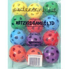 Gamester perforated plastic playballs bag of 12 in six colours ref. 02006