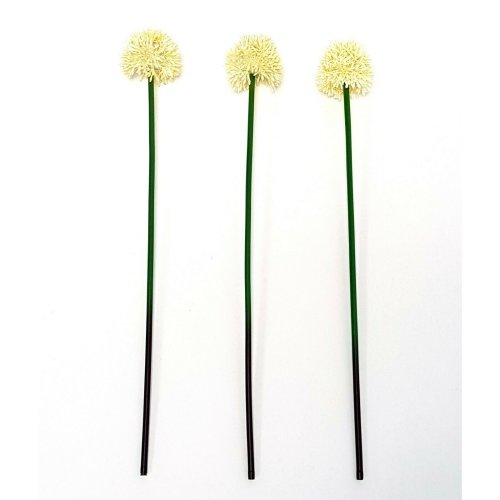 Set of 3 Artificial Medium Cream Allium Flower Stem - 50cm - Decorative Flowers