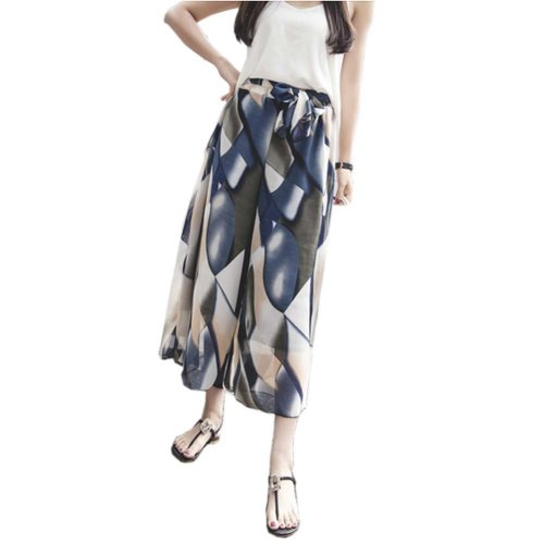 Stylish Printing Design Loose Fitting Pants Wide Leg Trousers Slacks for Women, #10