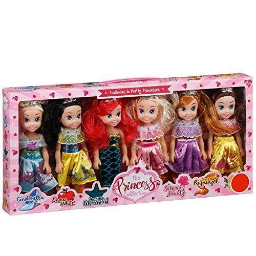 The Pretty Princess Doll Collection Set of 6 Disney Princess Dolls