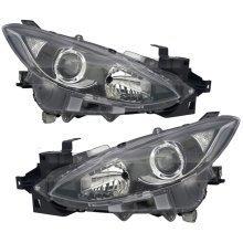 Mazda 3 2013-2016 Black Headlights Headlamps Pair Left & Right