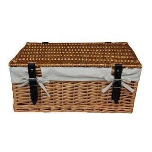 Large Wicker White Cotton Lined Hamper