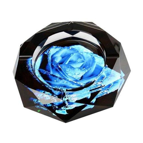 [Flower-3] Rhombus Shape Crystal Cigarette Ashtray Ash Tray Tabletop Decoration