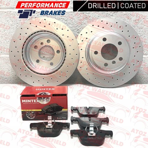FOR BMW 4 SERIES 440i M SPORT REAR PERFORMANCE DRILLED BRAKE DISCS MINTEX PADS