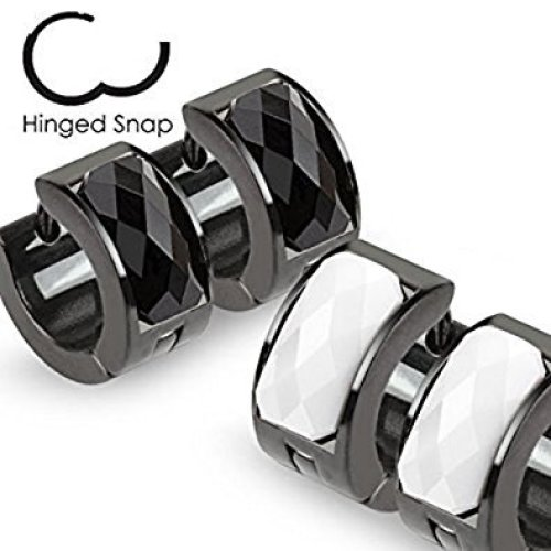 Faceted Crystal Pair of Black Plated Surgical Steel Hinged Snap Close Huggy Hooped Earrings 0.8mm Thickness