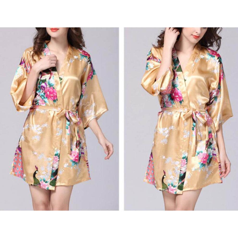 ... Charming Women Bathrobe Blossoms Peacock Kimono Silk Robes Gown-Champagne  - 1.   dbf345a4e