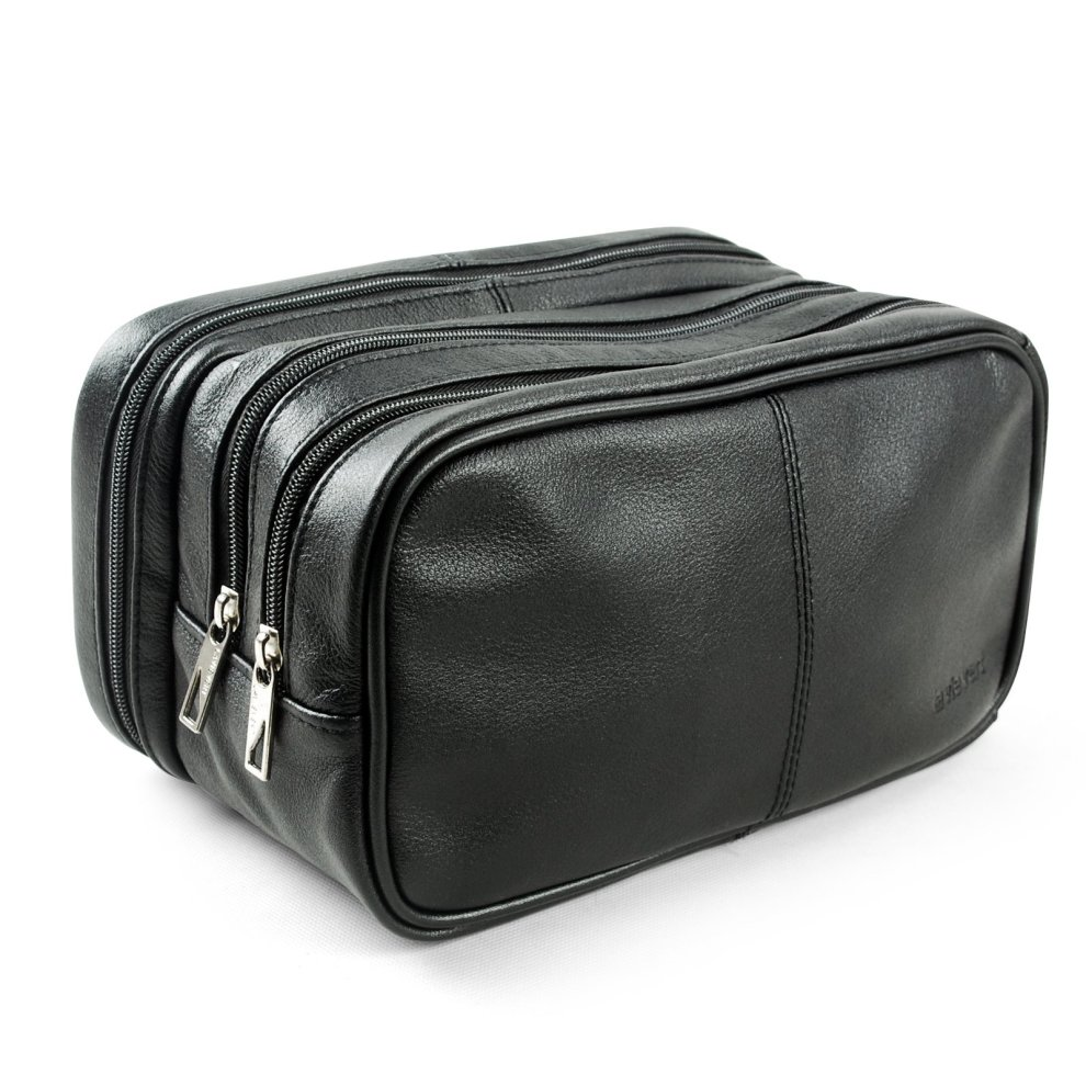 5391796bb6 Lavievert Genuine Leather Toiletry Bag Grooming Shaving Accessory Dopp Kit  Portable Travel Organizer with Three-layered Storage Sections   Handle...  on ...