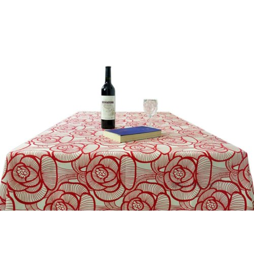 [Peony] Cotton Canvas Tablecloth / Table Cloth / Table Cover(57 x 86 Inch)