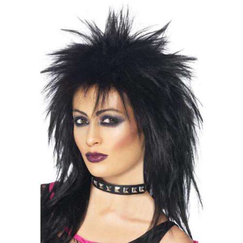 Rock Diva Wig, Black, Long Mullet