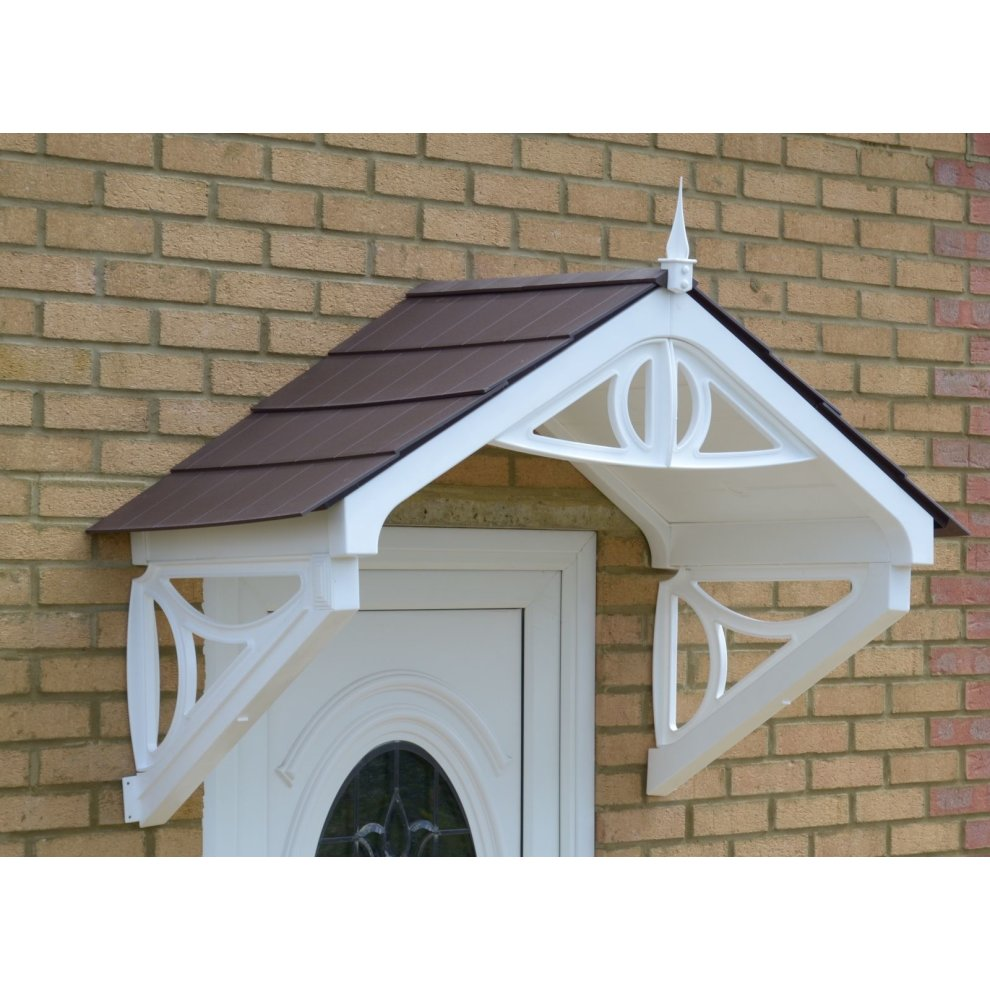 (Brown) White Rockingham Door Canopy | Over Door Awning on ...