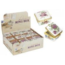 Square Ceramic Decorative Ring Box -  ceramic decorative ring box floral jewellery trinkets storage gift square heart