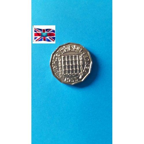 Great Britain 3 Pence - Elizabeth II 1st portrait; without 'BRITT:OMN'