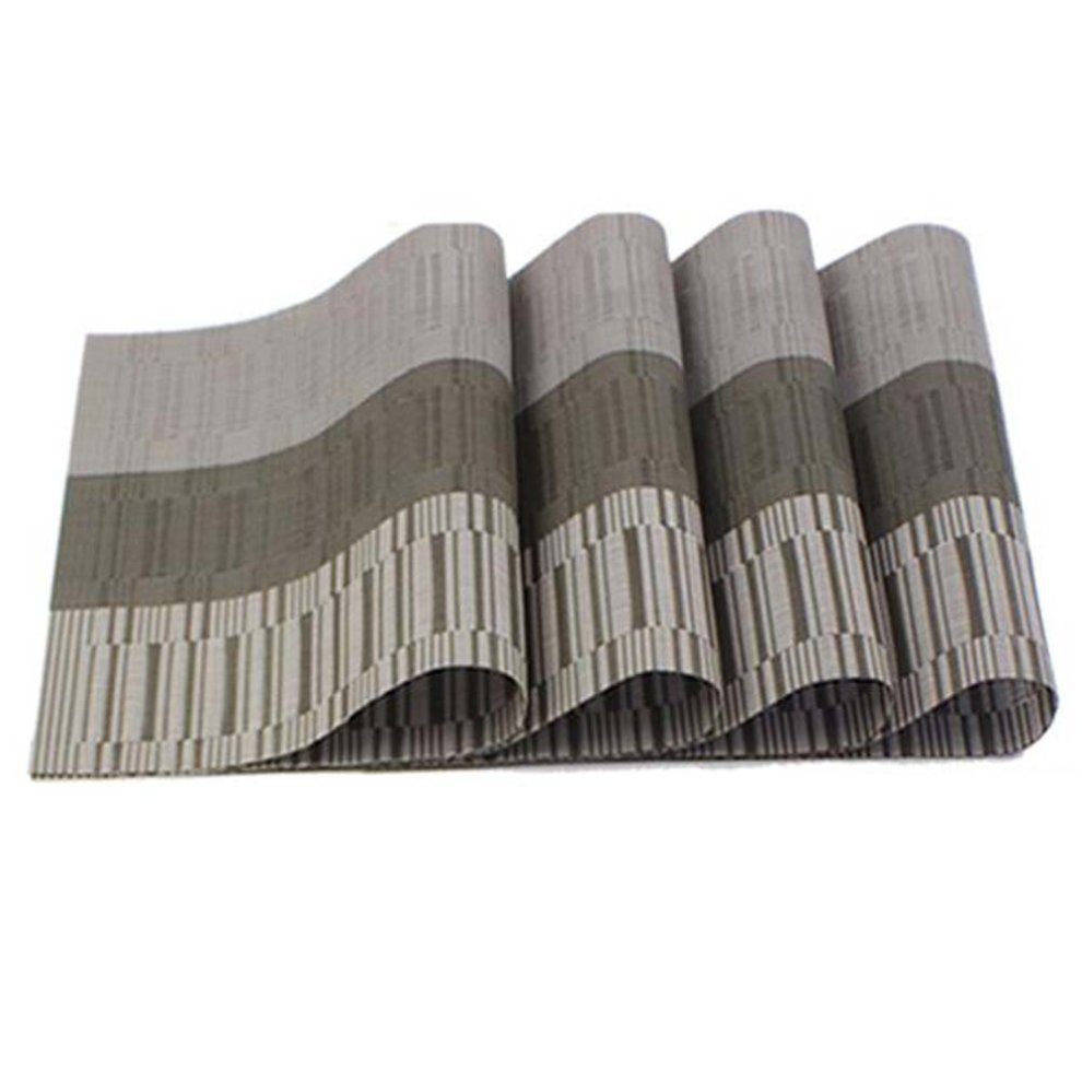 Cool 6 Pcs Heat Insulation Stain Resistant Placemat For Dining Table Durable Pvc Woven Kitchen Table Mats Placemat Grey Download Free Architecture Designs Scobabritishbridgeorg