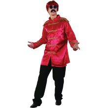 Red Men's Sargent Pepper Jacket -  jacket pepper fancy dress sgt costume red mens beatles 60s 1960s budget sergeant adult
