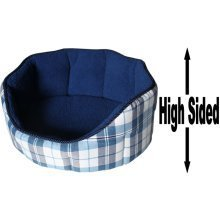 """Dog Bed Thick Blue Chequered Material Fleece 26"""""""
