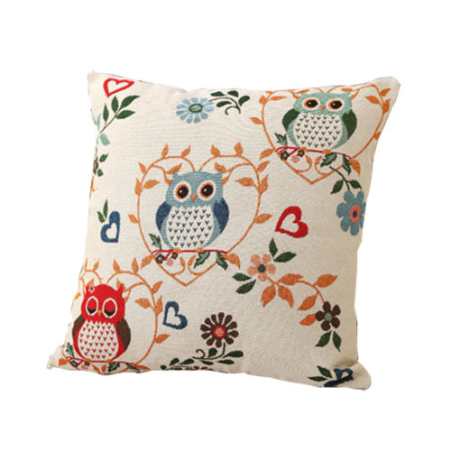 Owls Theme Cotton Linen Decorative Pillow Case Floor Cushion Case Naivety Owls