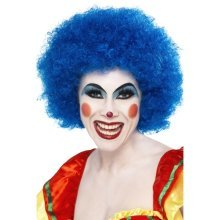 Smiffys Crazy Clown Wig - Blue -  wig clown afro fancy dress blue crazy unisex smiffys curly 70s party costume accessory mens ladies