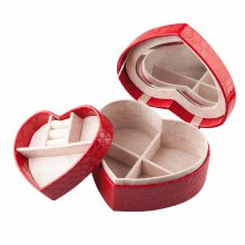 TRIXES Red Faux Lizard Skin Heart Shaped Jewellery Box