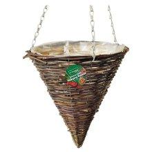 1 X Kingfisher 12 Inch (30Cm) Dark Rattan Cone Hanging Basket
