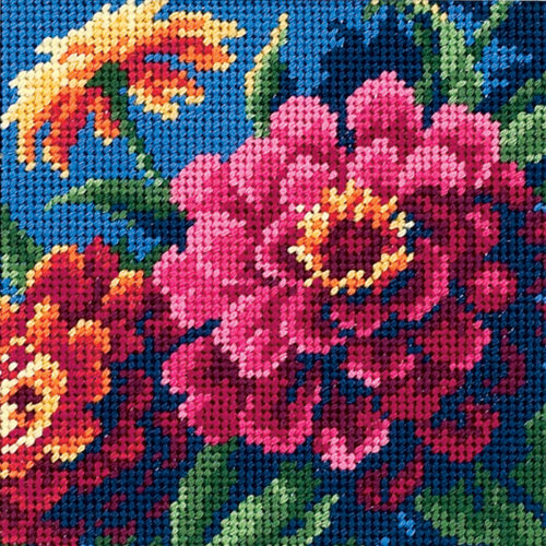 "Dimensions Mini Needlepoint Kit 5""X5""-Zinnias Stitched In Thread"