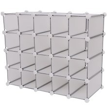 Homcom Interlocking 20 Compartments Cube Organiser Plastic Storage Shoe Display Stand
