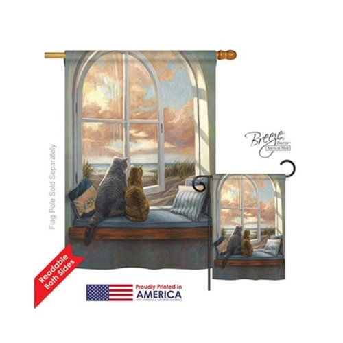 Breeze Decor 10057 Pets Enjoying the View 2-Sided Vertical Impression House Flag - 28 x 40 in.