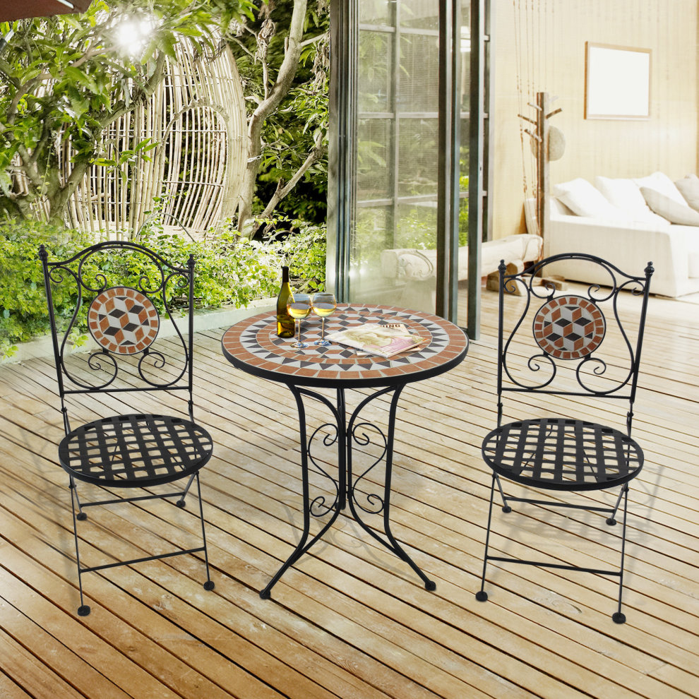 Outsunny 3 Pcs Garden Mosaic Bistro Set Outdoor Patio 2 Folding Chairs 1 Round Table