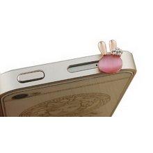 High-quality 3.5mm Cell Phone Anti Dust Plug Cartoon Dust Plug Rabbit PINK 1 Pcs