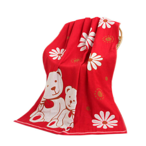 Large Soft Beach Towels 140*70cm Sunflower And Bear Pattern,Red