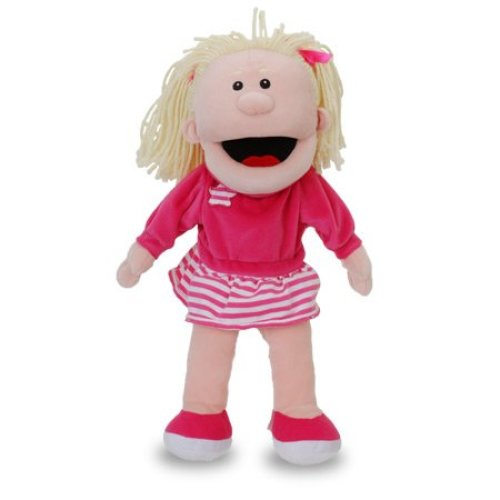 White Girl With Moving Mouth Hand Puppet - Fiesta Crafts -  girl hand puppet white moving mouth fiesta crafts