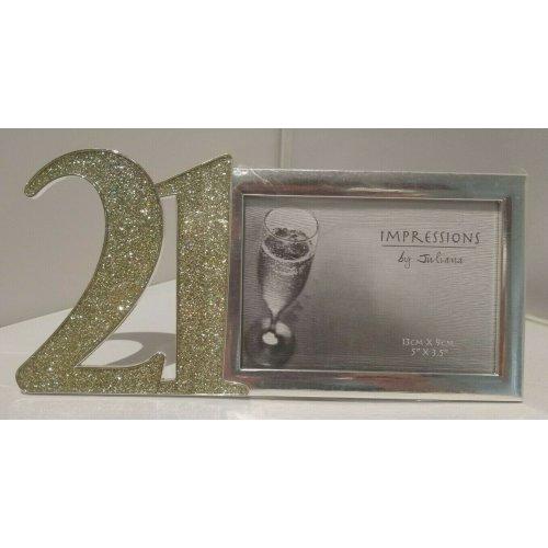 Happy 21st Birthday Satin Silver Photo Frame Impressions by Juliana