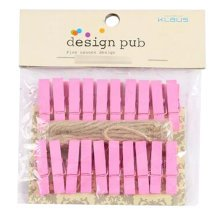 Mini Natural Wooden Clothespins Photo Paper Peg Pin Craft Clips with 2m Jute Twine, B
