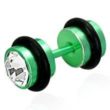 Urban Male Green Stainless Steel Fake Ear Plug set with CZ
