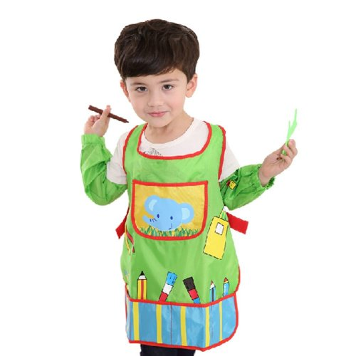 Waterproof Baby Bib Overclothes Painting Smock Apron & Sleeves B, 3-10 Years
