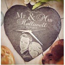 Personalised Photo Engraved Mr & Mrs Heart Slate Clock