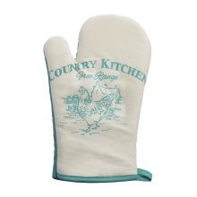 Country Kitchen Single Oven Glove - White/Teal