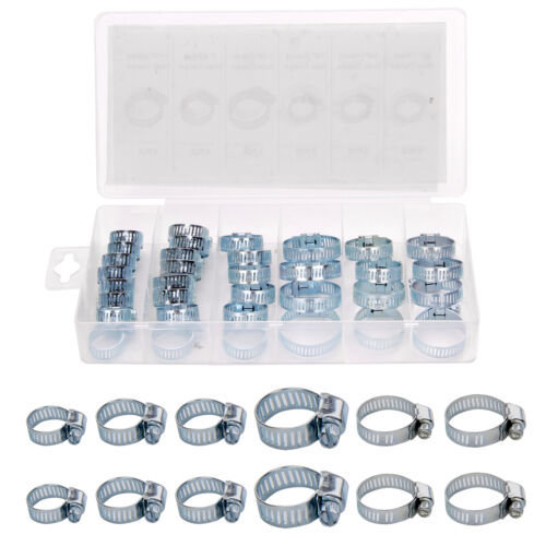 34Pc Assorted Galvanized Hose Clamp Set With No Driver- Jubilee Clip Set