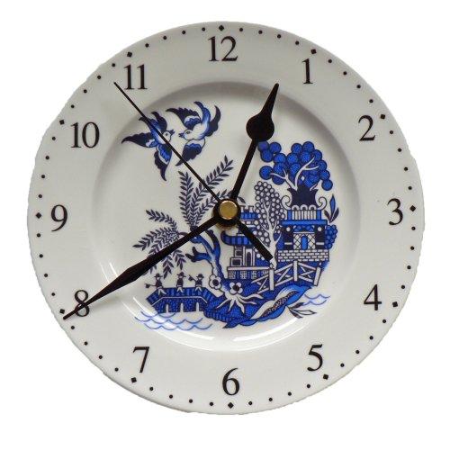 "Blue Willow wall clock. Small Porcelain wall clock 6"" diameter."