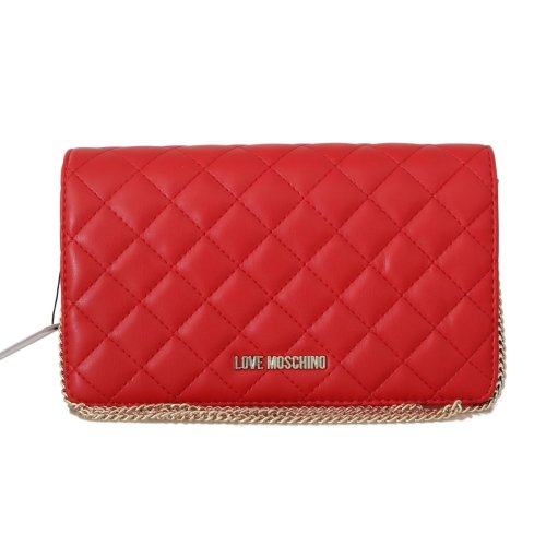Moschino Red Quilted Faux Leather Messenger Bag