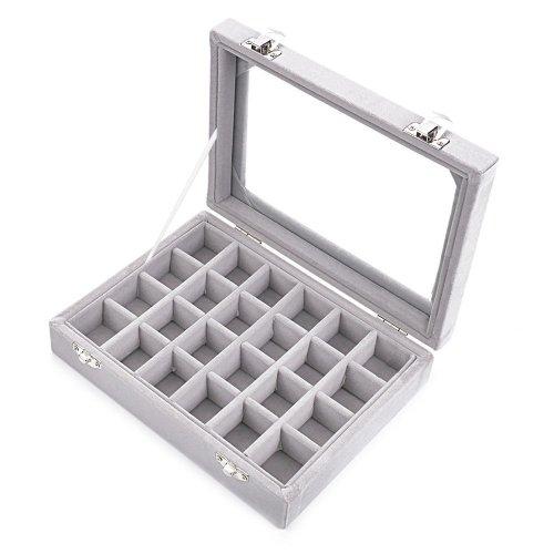 Zice 24 Slot Velvet Gl Jewelry Box Organizer Rings Earrings Tray Display Storage Case