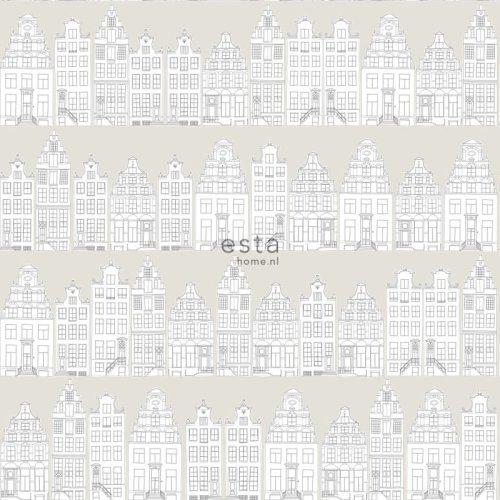 HD non-woven wallpaper drawn Amsterdam canal houses light gray