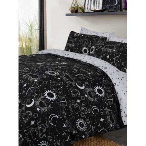 Black & White Moon and Stars Dreams Reversable Duvet Set