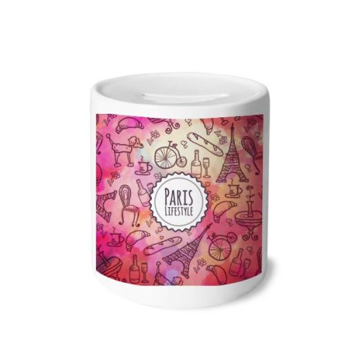 Pink Life France Landmark Love Paris Money Box Saving Banks Ceramic Coin Case Kids Adults
