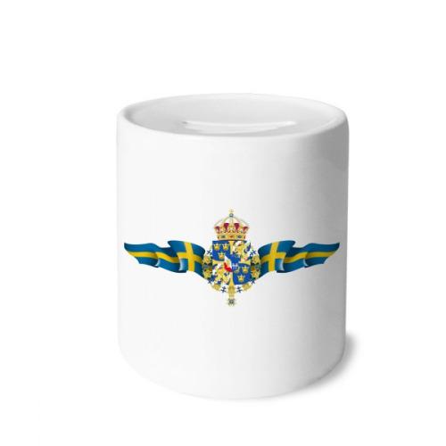 Sweden National Emblem Country Symbol Money Box Saving Banks Ceramic Coin Case Kids Adults
