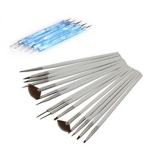 ReNext 15 Pcs Nail Art Design Painting Drawing Brushes White and Set of 5 Pcs 2 Way Marbleizing Dotting Pen Tools